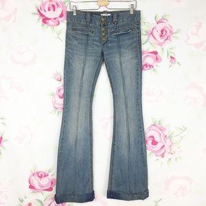 Free People Boho Retro Hippie Flare Denim Jeans 27